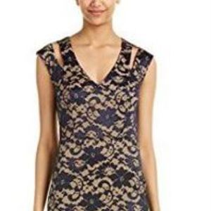 ABS Dress Navy Nude Stretch Lace Cut Out New Sz 6